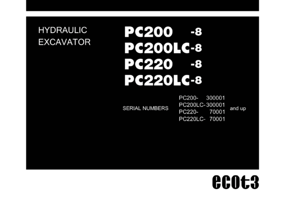 Tài Liệu Sửa Chữa Komatsu PC200-8 PC200LC-8 PC220-8 PC220LC-8 Shop Manual