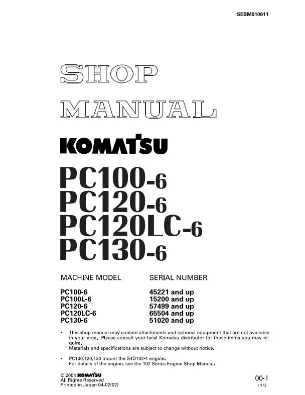 [Tải Miễn Phí] Tài Liệu Sửa Chữa Komatsu PC100-6 PC120-6 PC120LC-6 PC130-6