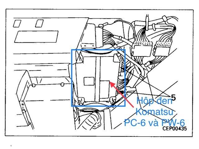 Hình ảnh vị trí chính xác của hộp đen Komatsu PC-6