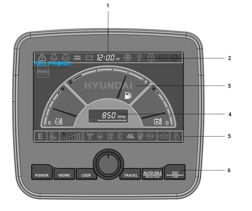 Cách sử dụng màn hình máy xúc Hyundai Robex R140-9S