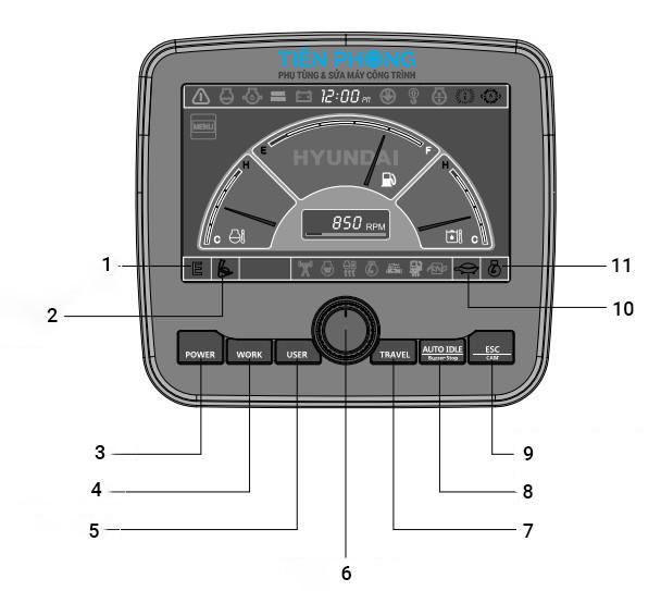 Cách sử dụng màn hình máy Hyundai Robex R140-9S