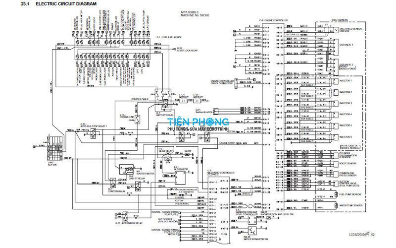 Hệ thống sơ đồ điện máy xúc đào Kobelco Sk350-8