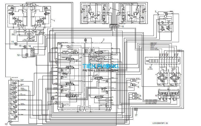 Hệ thống sơ đồ thủy lực máy đào Kobelco Sk350-8